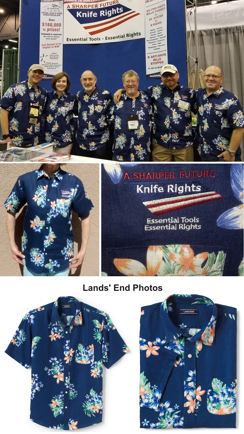 "68b9bd4d Limited Edition Knife Rights Logoed Hawaiian Shirt. The Knife Rights logoed  ""Hawaiian"" shirts that we had done by Land's End ..."